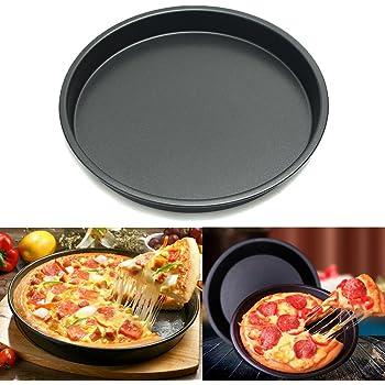 Janolia Plato para Pizza, Revestimiento Antiadherente de Acero, Accesorio para freír, microondas o Horno: Amazon.es: Hogar