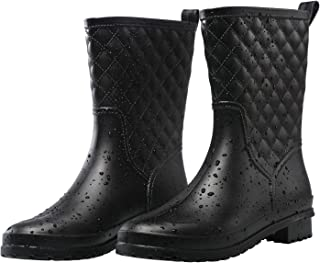 Petrass Botas de lluvia para mujer, color negro, impermeables, a mediados de la pantorrilla, ligeras, lindas, a la moda, p...