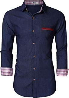 MrWonder Mens Casual Fit Button Down Shirts Long Sleeve Denim Shirts Dress Shirt Dark Blue 2XL