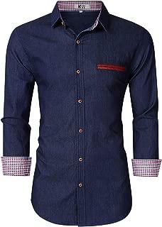 Men's Casual Slim Fit Short Sleeve Button Down Dress Shirts Denim Shirt Jean Shirt