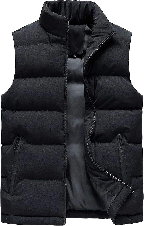 7789 Mens Winter Spring Jackets Sleeveless Cotton Down Vest Mock Neck Solid Color Full Zip Vest Coat with Pockets