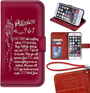 Customized PU Leather Durable Bible Verses Christian Quotes iPhone 6 Plus/6s Plus 5.5 Wallet Case