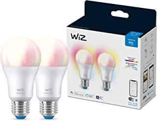Wiz Bombilla Wifi y Bluetooth LED Regulable Colores A60 60w E27 pack 2 Luz blanca y de colores, 2200-6500K, 8W (equivale a 60 W), A+