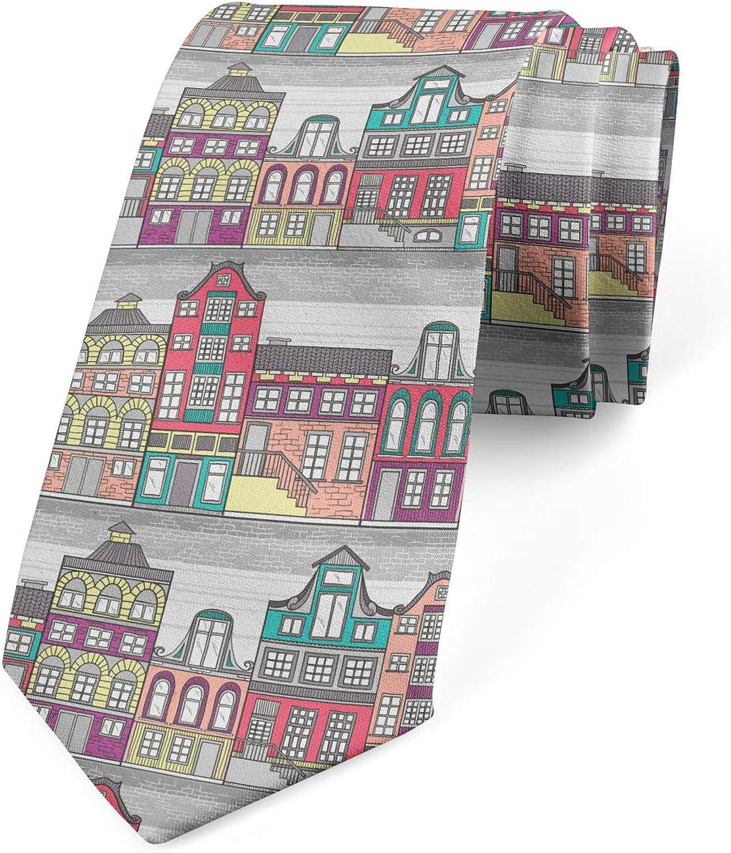 Ambesonne Necktie, Amsterdam Sketch Houses, Dress Tie, 3.7