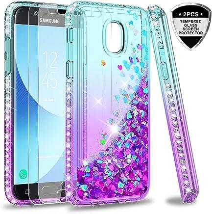 Galaxy J3 2018/ J3 Orbit/ J3 Emerge (2018)/ J3V (3rd Gen)/ Express Prime 3/ J3 Star/J3 Achieve Case w/Tempered Glass Screen Protector,LeYi Diamond Liquid Girly Case for Samsung Amp Prime 3 Teal/Purple