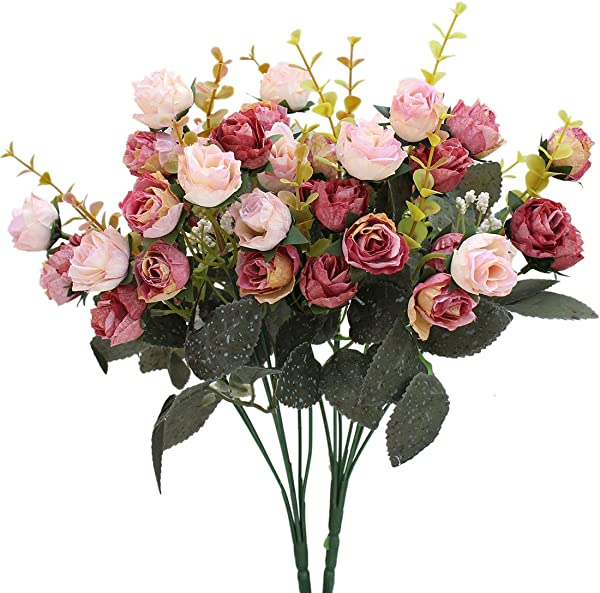 Luyue 7 Branch 21 Heads Artificial Silk Fake Flowers Leaf Rose Wedding Floral Decor Bouquet Pack Of 2 Pink Coffee