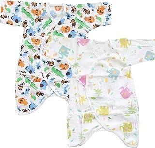 【 人気の2枚セット 】iikuru コンビ肌着 ベビー 半袖 女の子 かわいい 赤ちゃん 下着 新生児 0歳 コットン 肌着 セット (男の子2) y247