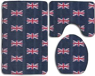 Bath Mat Sets UK Flag Union Jack Contour Rug U-Shaped Toilet Lid Cover,Non Slip,Machine Washable,3-Piece Rug Set Easier to Dry for Bathroom