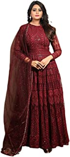 Fashion Basket Maroon Georgette Embroidered Semi-Stitched Anarkali Gown With Dupatta