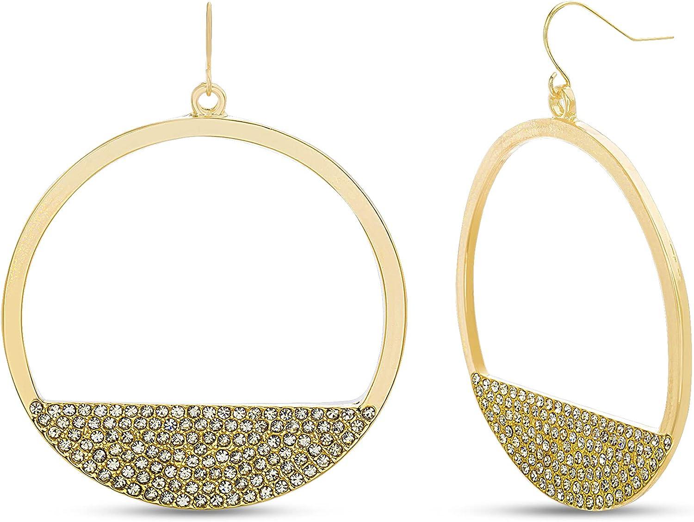 Steve Madden Rhinestone Yellow Open Circle Dangle Earrings for Women