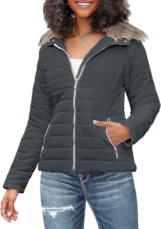 luvamia Women's Faux Fur Lapel Zip Quilted Puffer Jackets Parka Warm Winter Coats Outwear