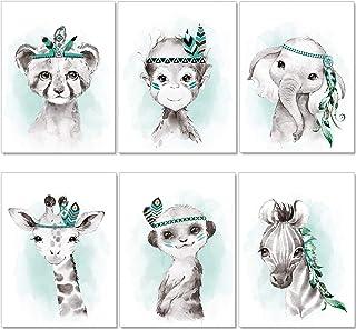 artpin® Lot de 6 images pour chambre d'enfant garçon fille en menthe gris plume – Poster forêt jungle indien P62