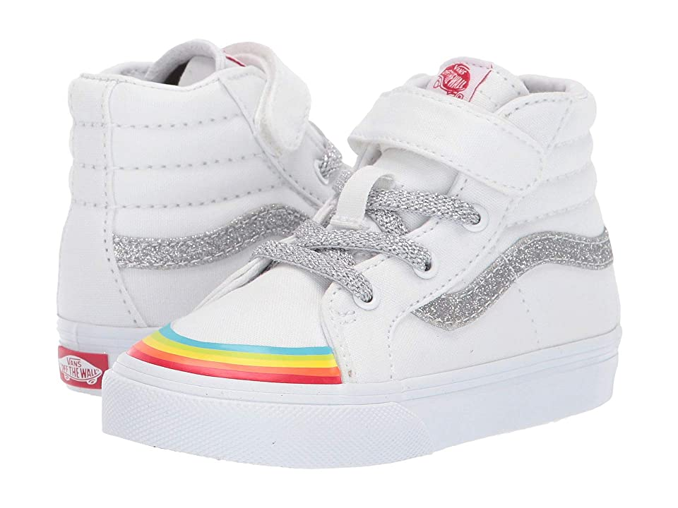 Vans Kids SK8-Hi Reissue 138 V (Infant/Toddler) ((Rainbow Toe Cap) True White/Silver 2) Girl
