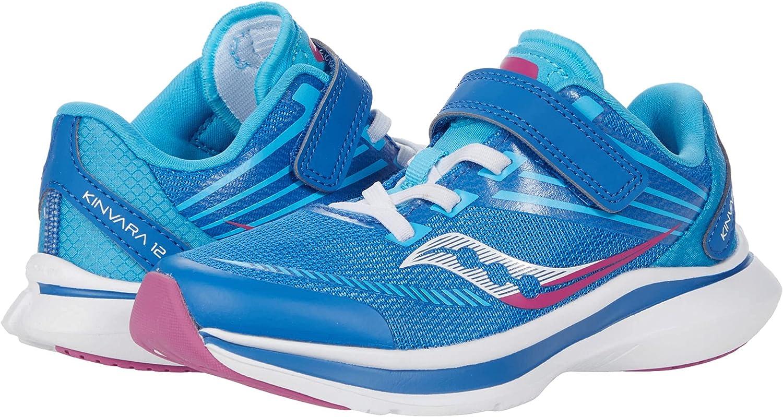 Saucony Kinvara 12 Alternative Closure Running Shoe, Blue/Pink, 2.5 Wide US Unisex Big_Kid