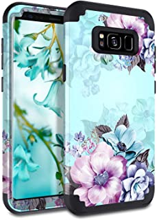 Casetego Casetego Compatible Galaxy S8 Case,Floral Three Layer Heavy Duty Hybrid Sturdy Armor Shockproof Full Body Protect...