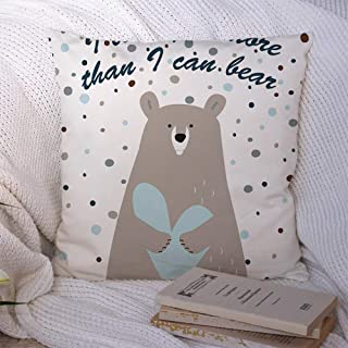 Starofeb Throw Pillow Covers Polyester More Holiday Love Printable Cute Than Nursery Bear Holding Heart Banner Animals Wildlife Textures Decorative Soft Cushion Case Chair Couch Home 16x16 Inch