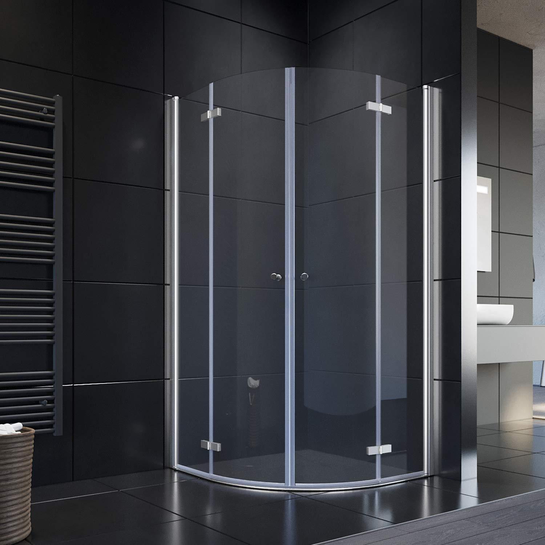 Cabina de ducha redonda con puerta plegable 80 x 80 cm Mampara de vidrio: Amazon.es: Bricolaje y herramientas