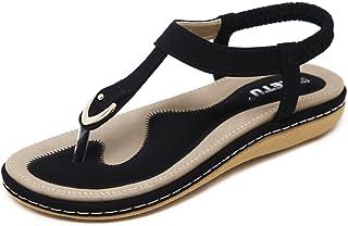 35b4963ee2bfa SAGUARO Women s Bohemian Rhinestone Summer Sandals Slip on Beach Flip Flop Flat  Thong Shoes