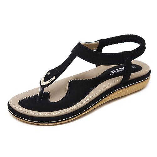 854dcb0e3 katliu Women's Summer Bohemia Clip Toe Sandals Boho Outdoor Beach Ladies Flip  Flops Flat T-