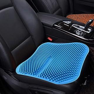Cojín del asiento de coche sin respaldo masaje alta memoria de silicona transpirable malla de gel de sílice fundas de asiento de coche (Color : Blue)