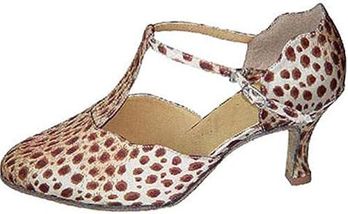 LEIT YFF Cadeaux Femmes Dance Danse Danse Latine Dance Tango Chaussures 7CM,rouge blanc,40