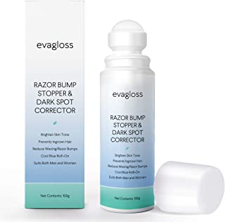 Evagloss Razor Bump Stopper- After Shave Solution for Ingrown Hairs and Razor Burns, Dark Spot Corrector Skin Lightening, Roll-On for Men and Women -100g