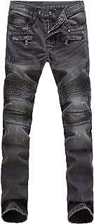 Men's Slim Fit Vintage Distressed Motorcycle Jeans Runway Biker Denim Jeans