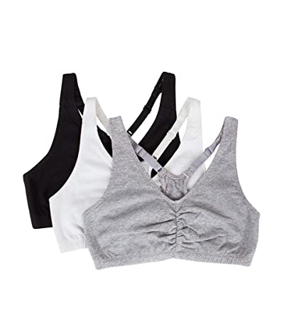 Fruit Of The Loom Shirred Front Racerback Sports Bra, 3-pack