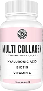 Collagen Capsules with Biotin, Hyaluronic Acid, Vitamin C | Hydrolyzed Multi Collagen Peptide Pills. Types I, II, III, V, X. Collagen for Skin, Hair, Nails and Joint Health Supplement