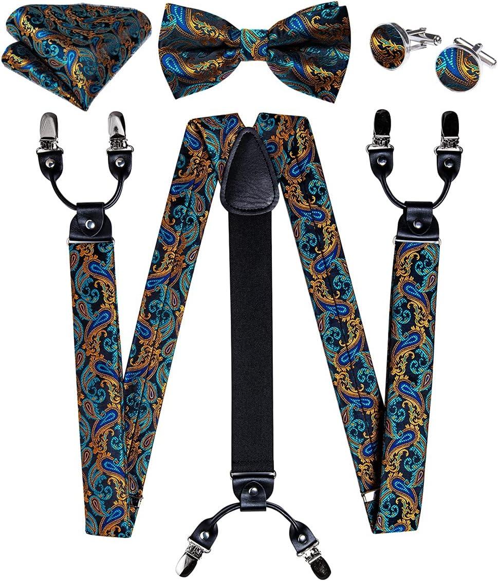 HLDETH Men Suspender Fashion Silk Metal 6 Clips Braces Teal Green Men Casual Suspensorios Trousers Strap Mens (Color : A, Size : Adjustable)
