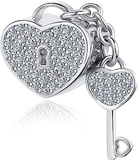 MiniJewelry Women Girls Love Heart Lock Key Charm for Bracelets fits Pandora Charms Bracelets Crystal Clear