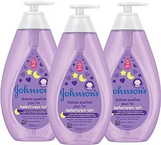 Johnson's Baby Baño Dulces Sueños, delicado para la piel y el uso diario - 3 x 750 ml
