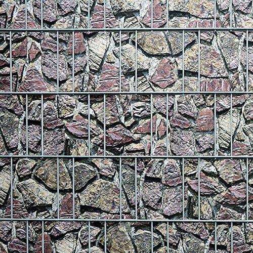 Bedruckter Sichtschutzstreifen für Doppelstabmatten Zaun auf Rolle inkl. Klemmschienen (Naturstein)