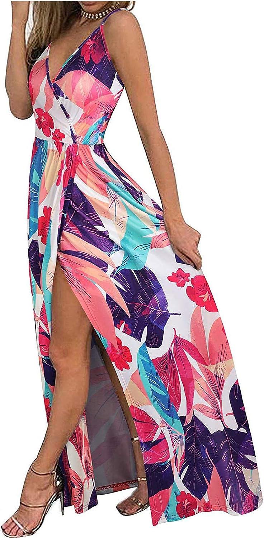 Women's High Split Sling Long Dresses Sexy Deep V Neck Bohomian Floral Summer Casual Loose Sleeveless Slim Maxi Dress