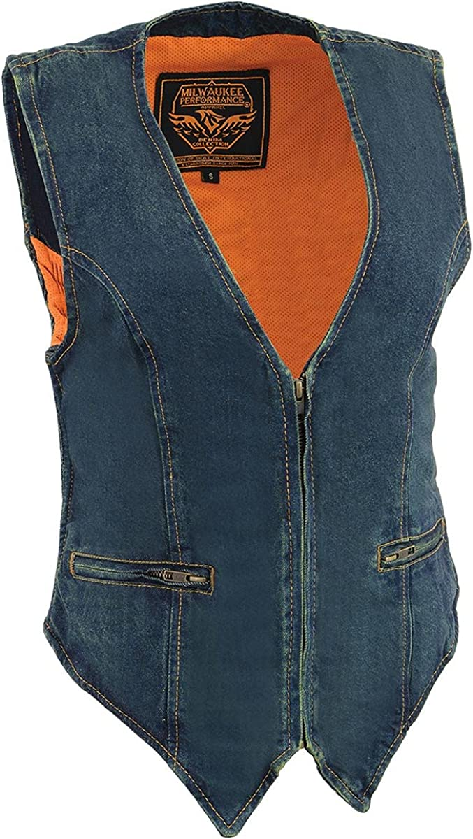 Milwaukee Leather MDL4010 Ladies Black Zipper Front Denim Vest with Side Stretch