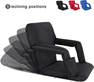 Nova Microdermabrasion Portable Stadium Seat Chair Reclining Seat for Bench Bleachers W/Padded Cushion Shoulder Straps - 6 Reclining Positions - Water Resistant