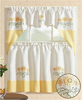 All American Collection Modern Embroidered 3pc Kitchen Curtain Set (Swag Valance, Yellow Sunflower)