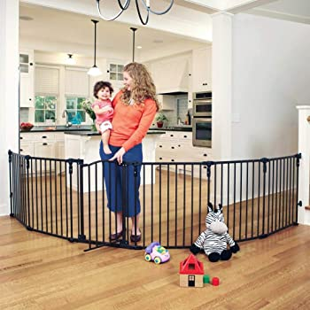 """Toddleroo by North States 3 in 1 Arched Décor Metal Superyard: 144"""" long extra wide baby gate, barrier or play yard. Hardware or freestanding. 6 panels, 10 sq.ft. enclosure (30"""" tall, Matte Bronze)"""