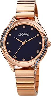 August Steiner Women's Colorful Swarovski Crystals Watch - Simple and Clear Dial with Crystals On Bezel and Hour Markers O...