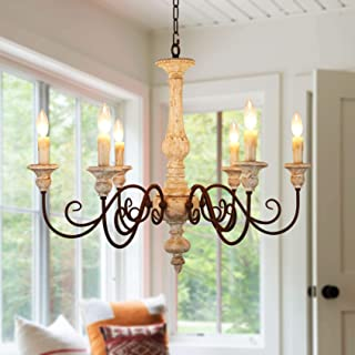 6-Light French Country Wooden Chandelier, Shabby Chic Wood Chandelier for Living Room, Bedroom and Dining Room