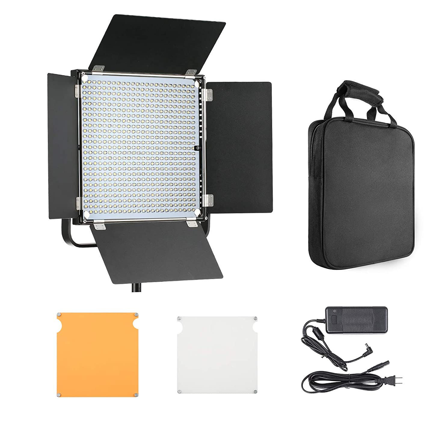 LED Panel Light Photography Barn Doors 40W 4500LM Dimmable Continuous Output Lighting Studio Product Interview Portrait YouTube Video Shooting 48CH 6 Groups