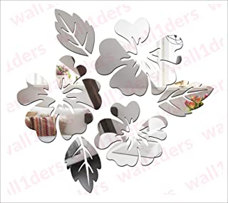 Wall1ders - Flower & Leaf (Pack of 6) 3D Acrylic Stickers, 3D Acrylic Mirror Wall Stickers for Living Room, Hall, Bed Room...