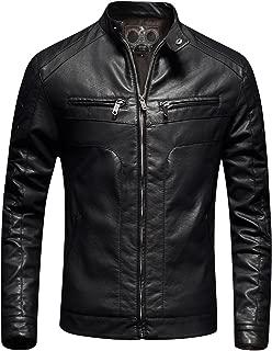 Mens Casual Slim Fit Moto Bomber Biker Racer Jacket Faux Leather Black