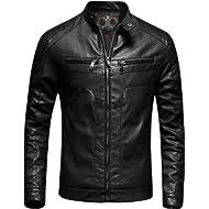Mens Casual Slim Fit Moto Bomber... Mens Casual Slim Fit Moto Bomber Biker Racer Jacket Faux Leather Black