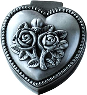 Aimeio Vintage Jewellery Box Metal Treasure Box Antique Love Heart Shape Metal Jewelry Box Princess Jewelry Makeup Organizer Birthday Gift (Love Heart)