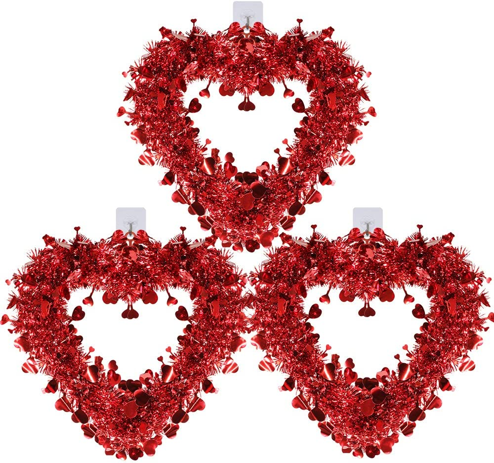Winlyn 3 Pack Red Valentine Heart Wreaths Tinsel Heart Shaped Wreaths with Foil Hearts Hanging Valentine's Day Wreaths Decorations for Wedding Birthday Party Front Door Wall Window Mantel Décor