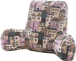 Backrest YJLJL Algodón Adultos Almohadas de la Cama con Brazos rallado Perla de algodón rellena Suave y Firme de la Cremallera extraíble y Lavable YJLJL (Color : A, Size : 58 * 20 * 38cm)