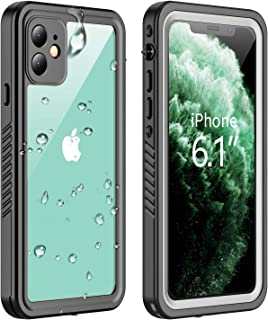 Vapesoon iPhone 11 Waterproof Case, Built-in Screen Protector 360 Full-Body Protection Clear Call Quality Heavy Duty Waterproof Shockproof Cover Case for iPhone 11 2019(6.1 Inch)-Black/Clear