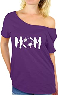 Awkward Styles Women's Soccer MOM Motherhood Graphic Off Shoulder Tops T Shirt White Sport Mom Gift Idea