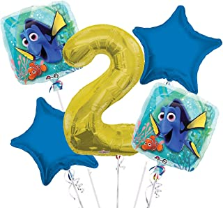 Finding Dory Balloon Bouquet 2nd Birthday 5 pcs - Party Supplies